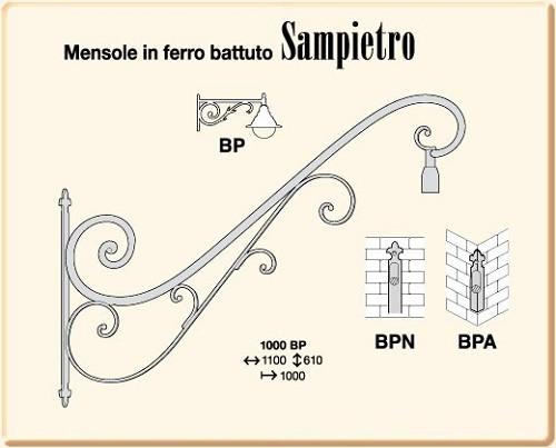 Mensole in ferro battuto sampietro 1000 bp for Mensole in ferro battuto