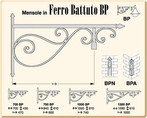 Mensole in ferro battuto serie battuto bp for Mensole in ferro battuto